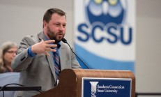 Paul Singley, president of Connecticut SPJ, welcomes participants to the Regional Journalism Conference at the Adanti Student Center Saturday.