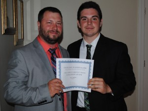 CTSPJ President Paul Singley, left, with scholarship winner John Napolitano.